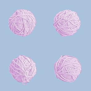 small yarn balls - lilac on light blue