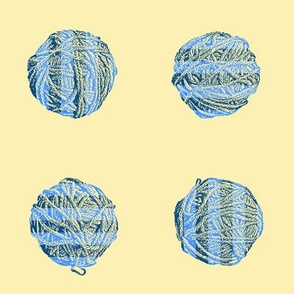 bedtime knitting: self-striping yarn balls in blue on cream