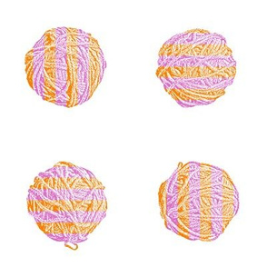 butterfly knit - self-striping yarn balls in pink and orange