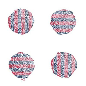 knit-along with Matisse: self-striping yarn balls in red and blue