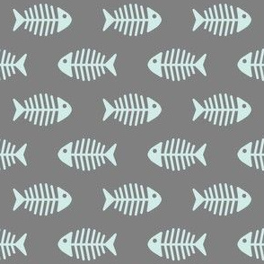 Aqua Fishes on Grey
