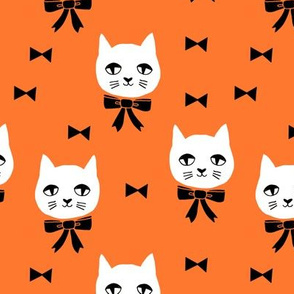 fancy cat // cute orange cat head fabric white cat design