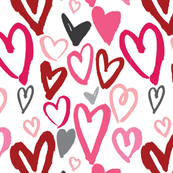 Painted Valentine Hearts in Red and Pink