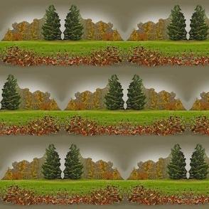 Autumn Fringe and Evergreen - scallop