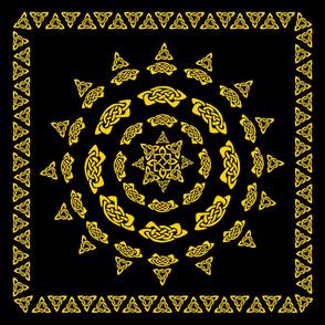 Celtic Scarf Mandala 1 Gold on Black