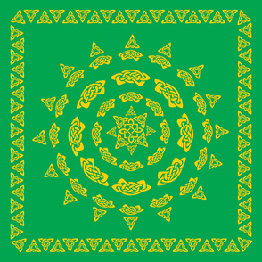 Celtic Scarf Mandala 1 in gold on green