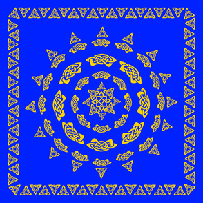 Celtic Scarf Mandala 1 in gold on blue