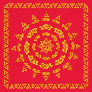 Celtic Scarf Mandala 1 gold on red