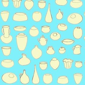 Clay Pots Aqua and yellow