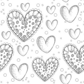 Happy Hearts in Black and White
