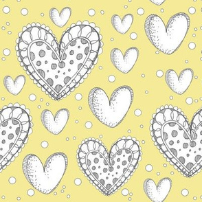 Happy Hearts on a Yellow Background
