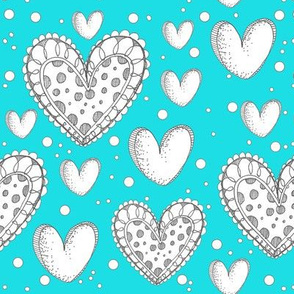Happy Hearts on a Blue Background