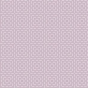 faux sashiko squares on lilac-mauve