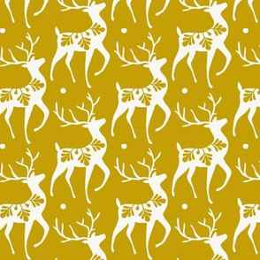 Dashing Through The Snow - Christmas Deer Yellow Gold