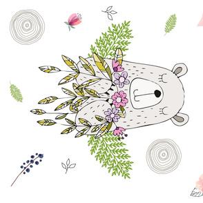"Floral Dreamy Bear 90 Degrees 42""x36"""