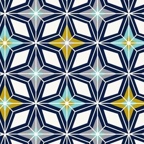 Nordic Star Navy & Gold Midcentury Modern Geometric