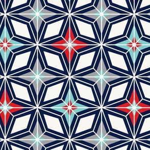 Nordic Star Navy & Red Midcentury Modern Geometric