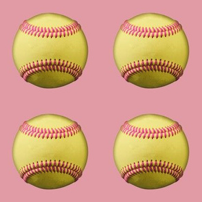 Yellow softballs with pink stitching, on rosebud pink