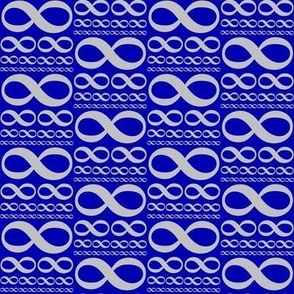 infinitiki - silver on cobalt blue