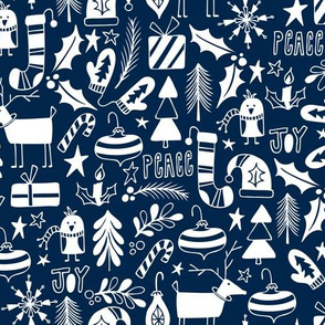 Peace & Joy Christmas - Navy Blue