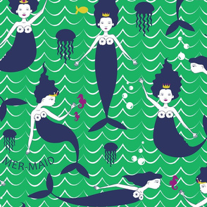 Mermaid Princess Green/Navy (Larger Scale)