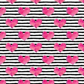 "watercolor hearts (1""scale) || stripes"