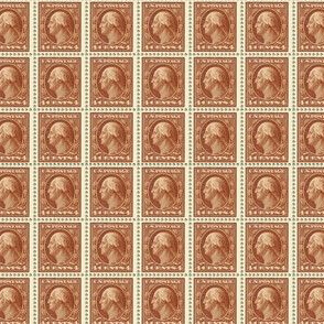 1908 George Washington brown 4-cent stamp sheet