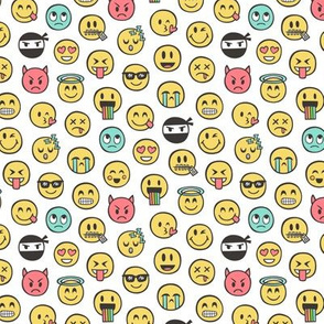 Smiley Emoticon Emoji Doodle on White Tiny Small