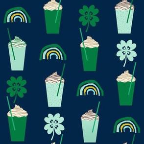 shamrock shake mint iced drink coffee milkshake st patricks day rainbows