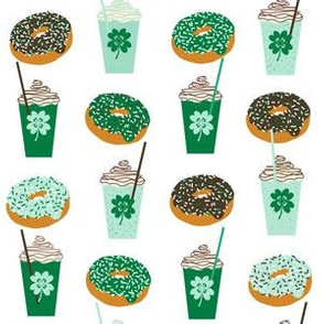 shamrock shake mint iced drink coffee milkshake st patricks day and donuts
