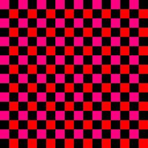 Checkerboard Pink Orange on Black