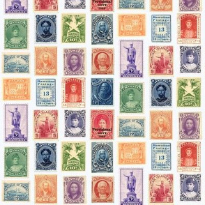 Hawaiian postage stamps, life-sized on white