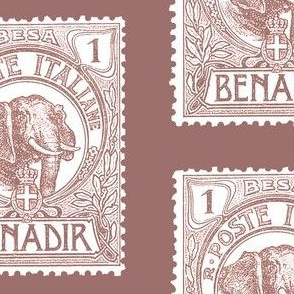 "Large 1903 Benadir Elephant stamp, terracotta, 5.5"" tall on a 6"" block"