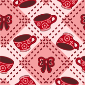 Tea Cups and Bows Reds
