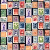 Hawaiian postage stamps, life sized on black