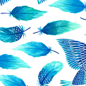 Birds painting their feathers blue