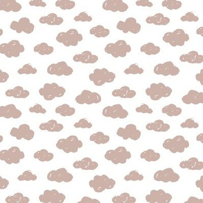 Beige pastel clouds monochrome and white abstract geometric gender neutrals prints for kids Small