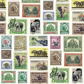 Elephant postage stamps - life sized on white