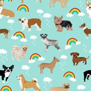 rainbows and dogs fabric mixed breeds dogs kawaii fabric - light mint
