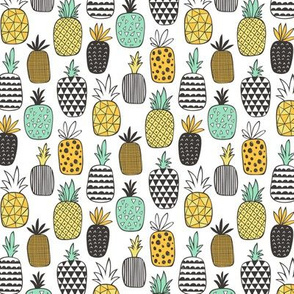Pineapple Geometric on White Smaller