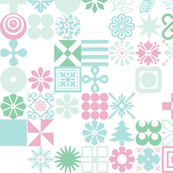 Christmas Ornaments* (Frosty Pastels) || Christmas holiday typography symbols stars snowflakes Santa Claus flowers holly