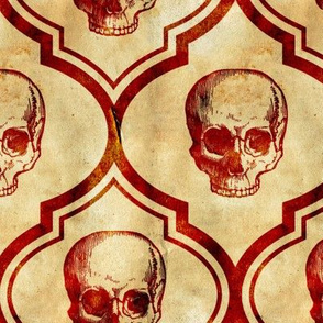 French Skulls - red parchment