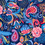 Paisleys and flowers (blue)