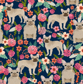 french bulldog floral fabric - fawn frenchie fabric (large format)