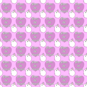 Tiny Blanc de Hotot rabbits with hearts - pink