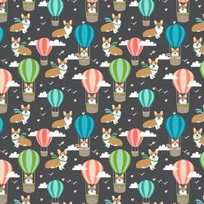 corgi hot air balloon fabric cute dogs design