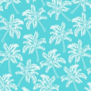 Palm Trees in Aqua - LARGE