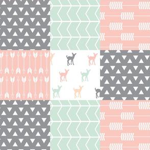 Woodland patchwork quilt top  || pink, grey,mint