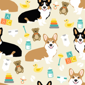 corgis and babies fabric - corgi baby nursery cute dogs fabric illustration