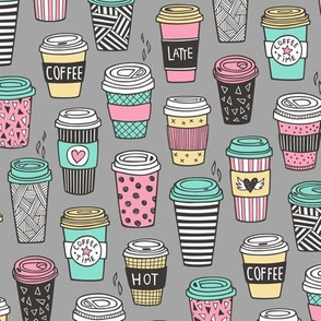 Coffee Latte Geometric Patterned Black & White Pink Mint Yellow on Grey
